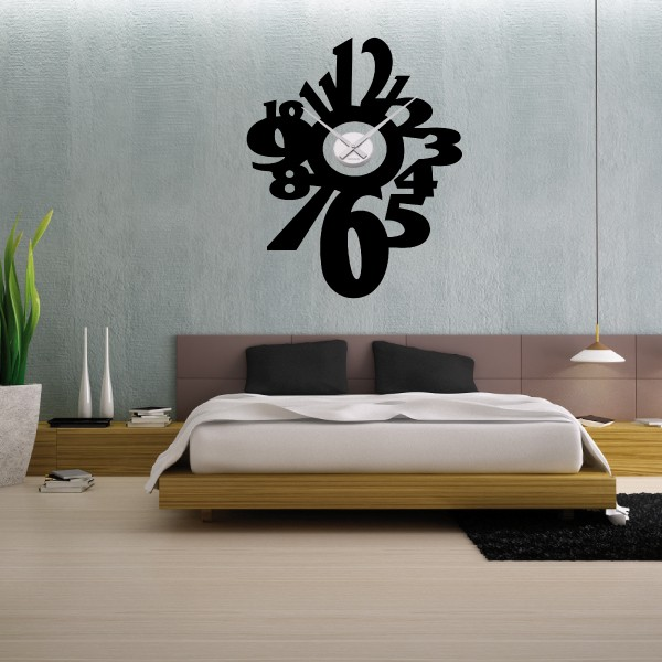 sticker mural horloge g ante gros chiffres design m canisme aiguilles ebay. Black Bedroom Furniture Sets. Home Design Ideas