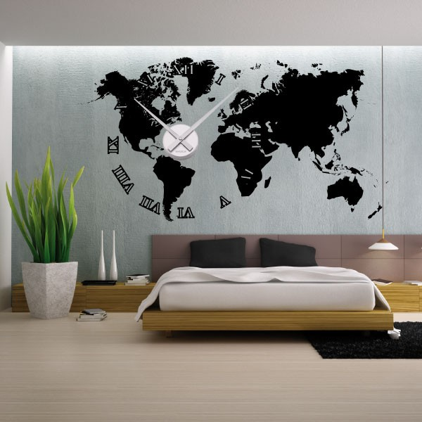 sticker mural horloge g ante mappemonde m canisme aiguilles ebay. Black Bedroom Furniture Sets. Home Design Ideas