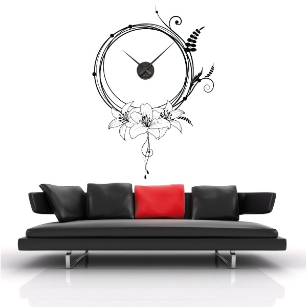 sticker mural horloge g ante fleurs design m canisme aiguilles ebay. Black Bedroom Furniture Sets. Home Design Ideas